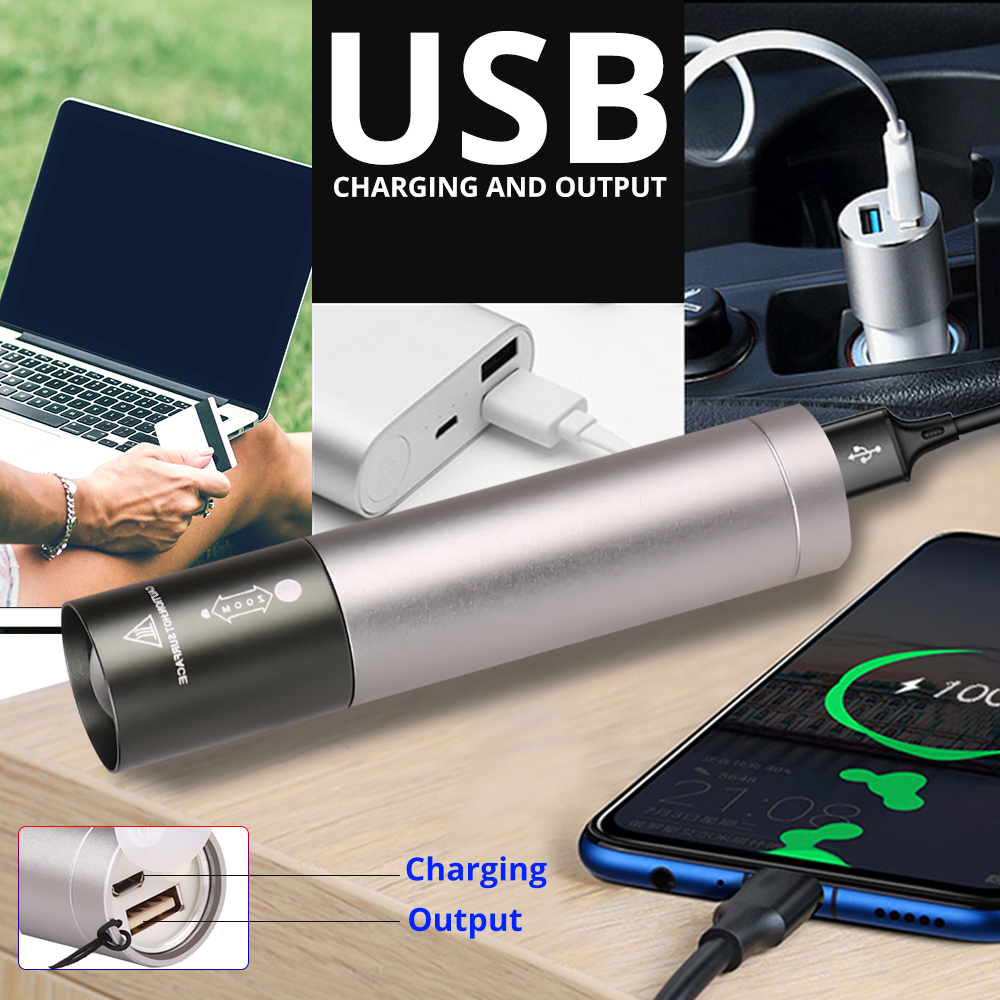 Waterproof LED Flashlight USB Rechargeable Torch Mini Mobile Phone Power Bank