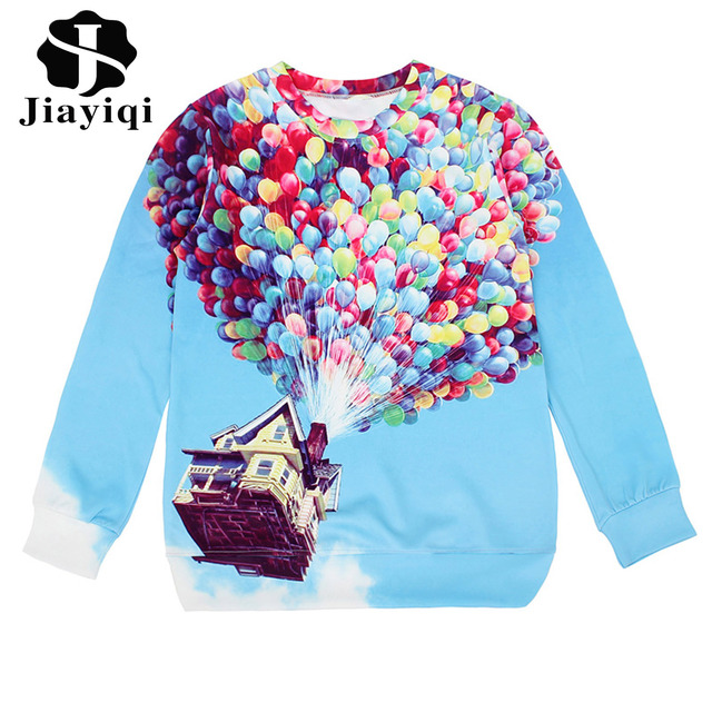 Funny 2017 Up House Balloons Printed Hoodies Pullover Long Sleeve Casual Sweatshirts for Women Tops Blue Color