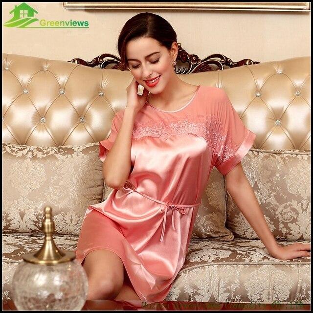 One Size Sexy Nighty With Dream Lace Summer Home Dress Loose Sleepwear  Summer Slik Dress 4 Farbe fdeef50c4
