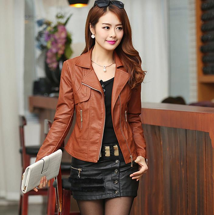 England spring black brown slim fit women leather jacket fashion
