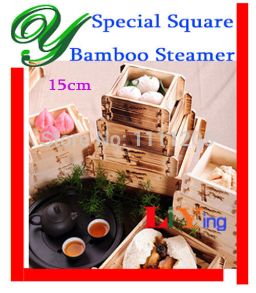 Bamboo Basket Steamer Chinese Dim Sum Rice Pasta Cooker Square 5 inch