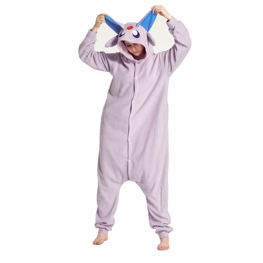 Adults Polar Fleece Espeon Pokemon Kigurumi Womens Mens Onesies Pajamas Cosplay Costume for Halloween and Carnival Party