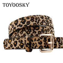 TOYOOSKY Belts for Women Strap Leopard Print Pin Buckle PU leather Woman Waist Female Horsehair Belt With Pattern