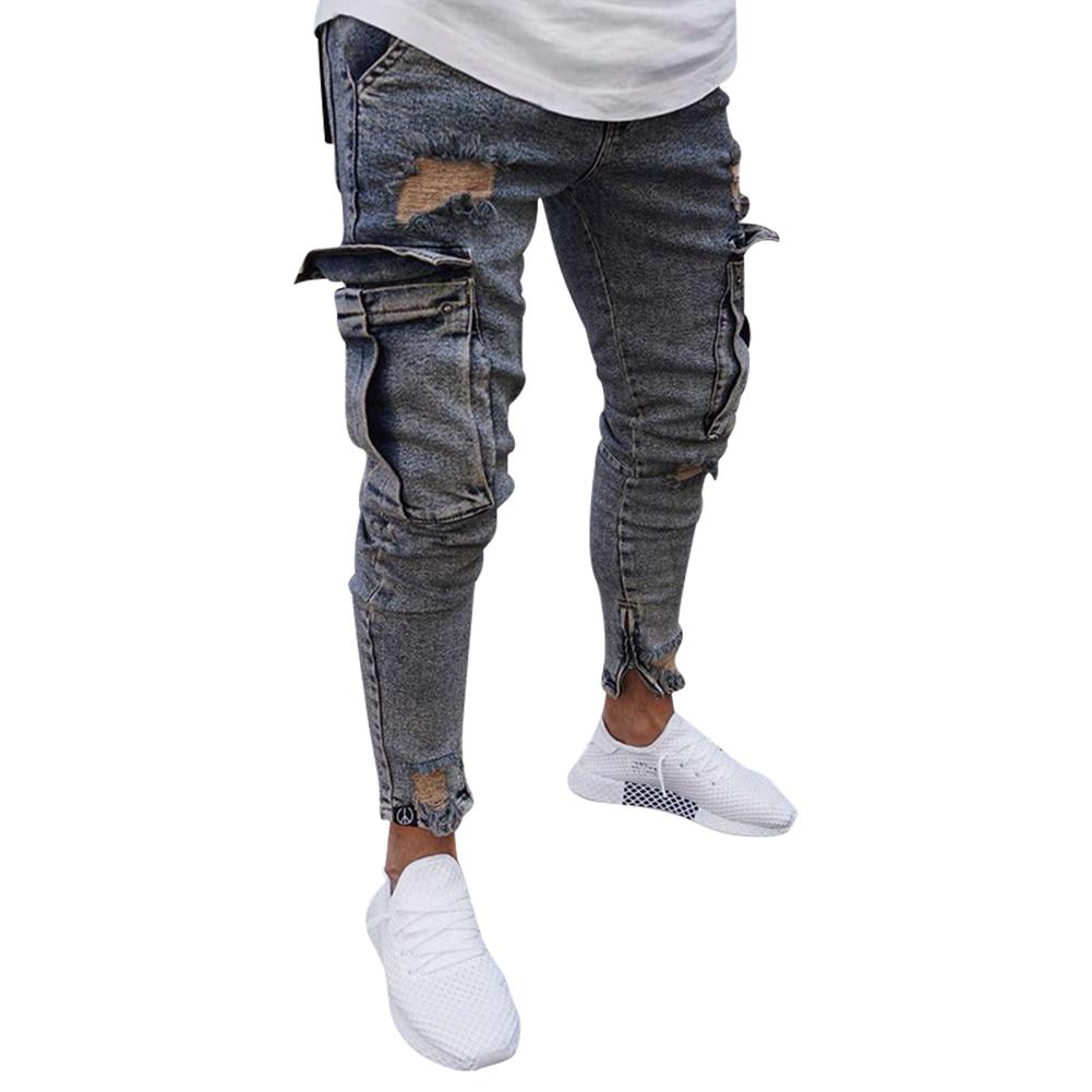Goedkope heren jeans met zakken op kniehoogte - Kleuren Lichtblauw en nostalgisch blauw - Maat: S, M, L, XL, XXL, XXXL, 4XL - Nu te koop in onze webshop
