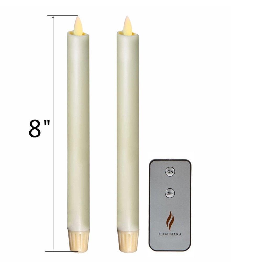 "Luminara Flameless 8"" Ivory Battery Operated Taper Candles ..."
