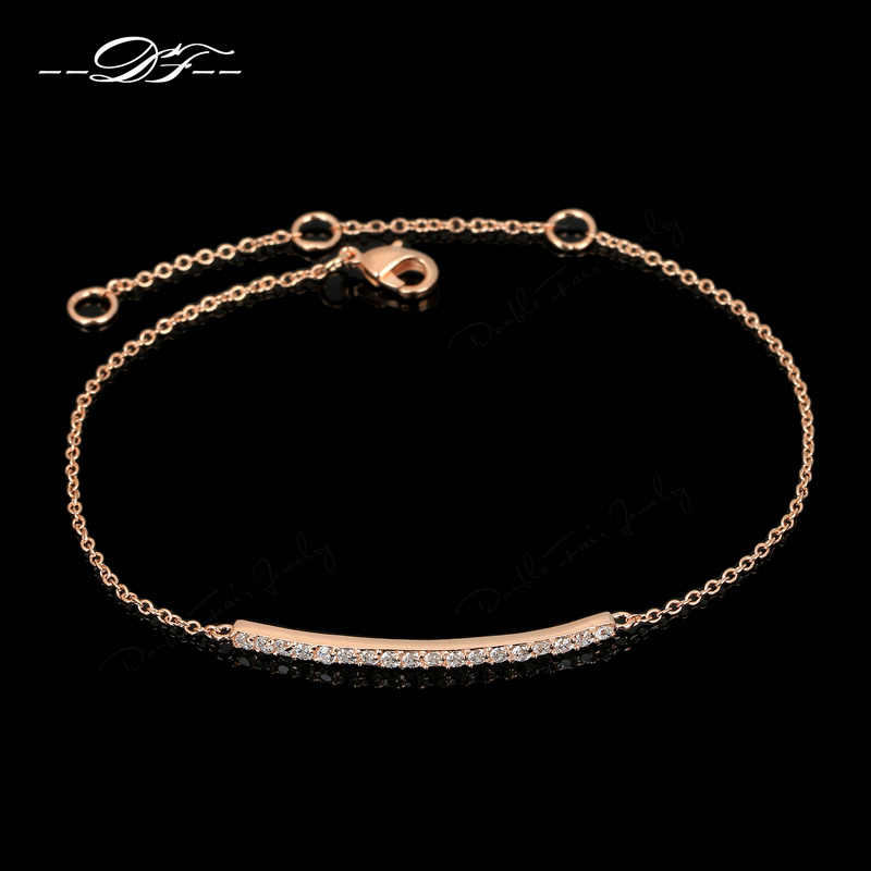 Cubic Zirconia Micro Pave Fashion Bracelets & Bangles For Women Rose Gold Color Crystal Cubic Zirconia Jewelry pulseras DWH126