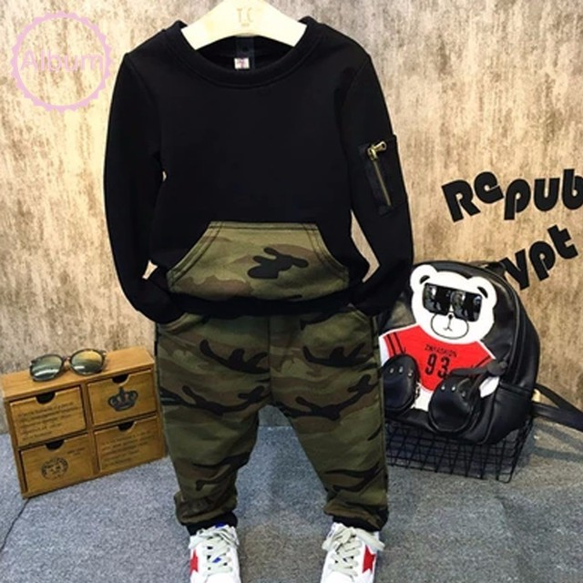 Cool Boys Clothing Sets Autumn Kids Sport Suit Full Sleeves Blouse + Camouflage Pants Suits Kids Tracksuits For 2-8 Years