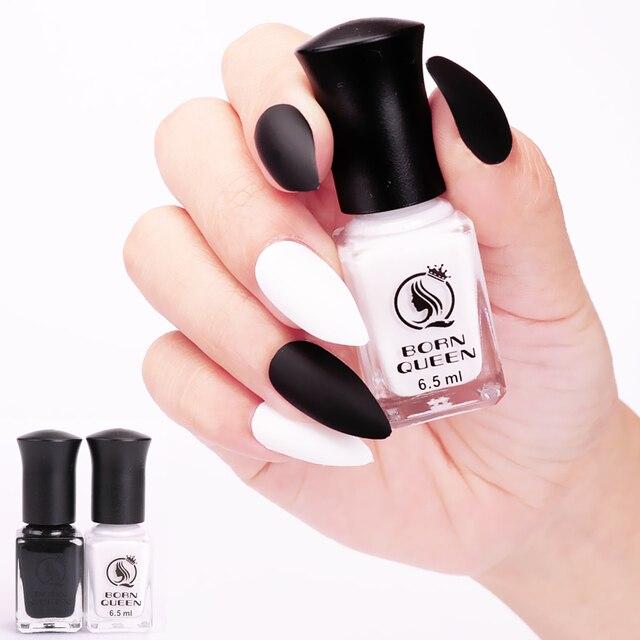 2 Bottles 6.5ml Matte Dull Nail Art Polish Black And White Nail ...