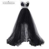 Black Formal Evening Dress Long 2019 High Low Wedding Guest Dress Sweetheart Prom Dresses Imported Party Dress