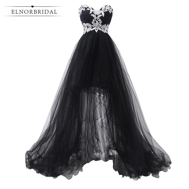 Black Formal Evening Dress Long 2017 High Low Wedding Guest Sweetheart Prom Dresses Imported Party