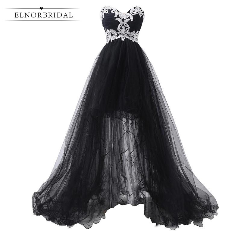 Black Formal Evening Dress Long 2019 High Low Wedding Guest Dress Sweetheart Prom Dresses Imported
