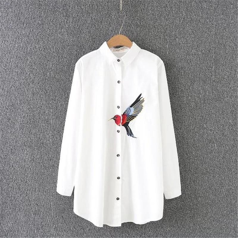 New Oversize Shirt 2018 Spring Big Size Women Long Shirt Cotton Blouses Style Clothing Embroidery Ladies Shirts Plus Size