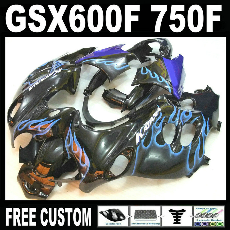 Motorcycle plastic fairing kit for Suzuki GSX 600F 750F 95 96 97-05 blue flames black fairings set GSX600F 1995 1996-2005 LM35 free customize mold fairing kit for suzuki gsx 600f 750f 95 96 97 05 red black fairings set gsx600f 1995 1996 2005 lm41