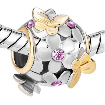 Fit Pandora charm bracelets Gold Alexandrite Flower Golden Butterfly Charm Bracelet beads for jewelry making