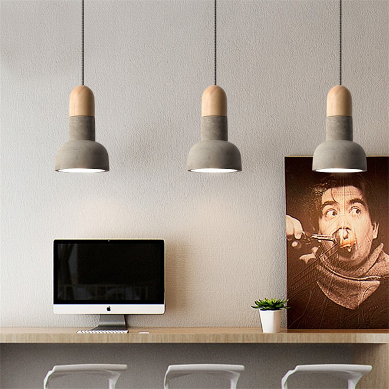 Industrial Vintage LED Pendant Light Cement Wood Lamp Loft Retro HangLamp Dining Room Lights Pendant Lighting Lampara Colgante