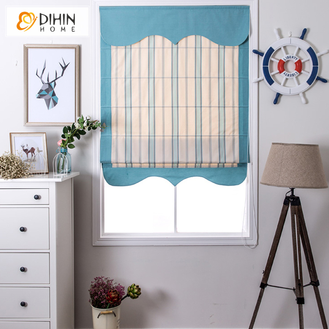 Included Curtains Striped Blackout Curtain Window Linen Cotton Rollor Blind Roman Shade Blinds Drapes