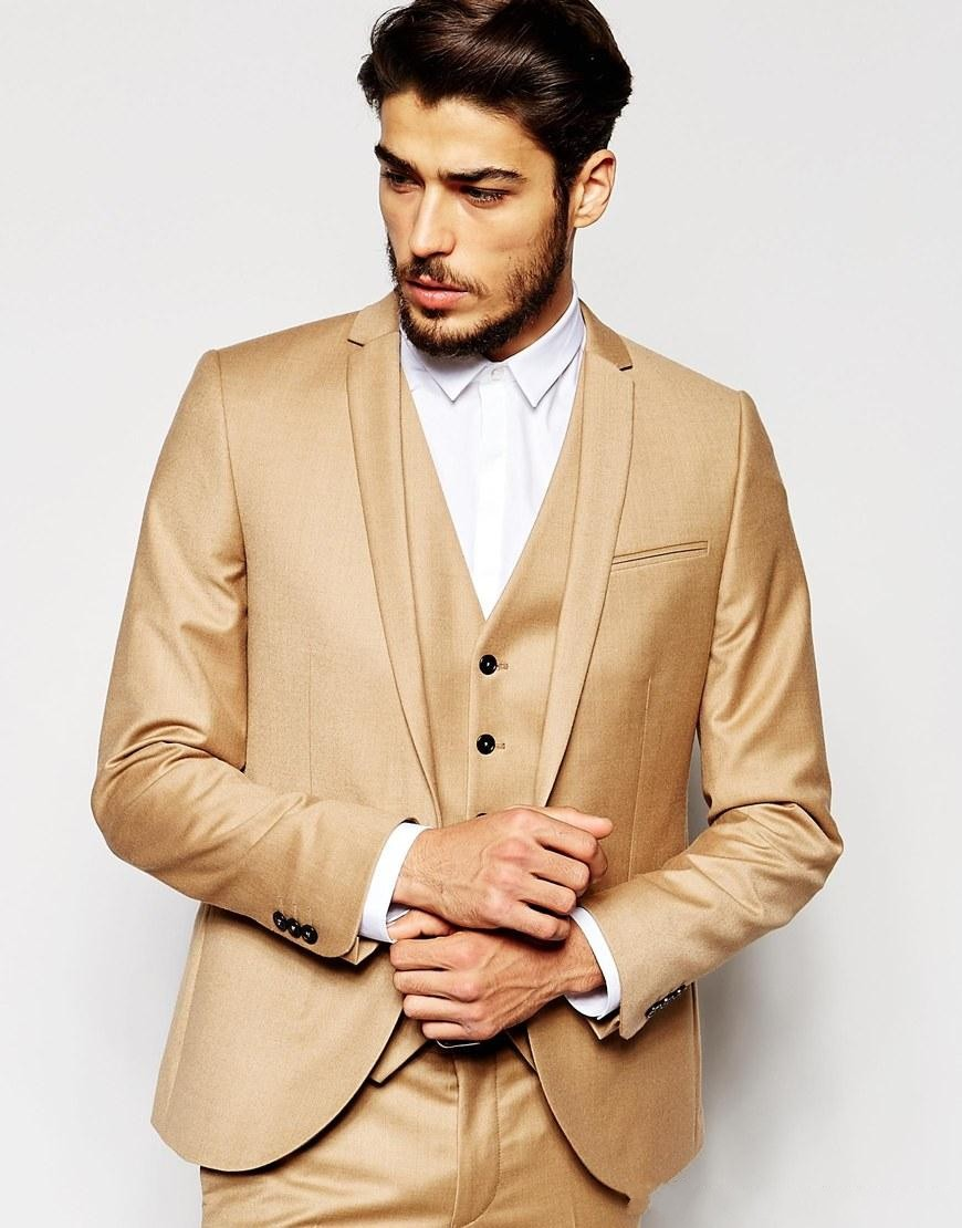 Classic Style One Button Khaki Groom Tuxedos Groomsmen Men\'s Wedding ...