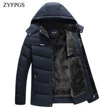 ZYFPGS куртка мужская зимняя теплая куртка мужская с капюшоном среднего возраста куртка на молнии мужская повседневная куртка парка плюс бархатная Толстая 815