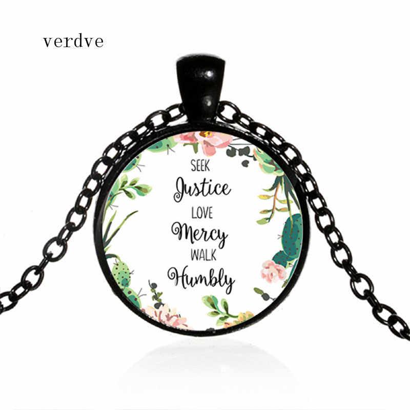 Baru Mencari Keadilan, Cinta Rahmat rendah Hati Kutipan Liontin Kalung Ayat Alkitab Perhiasan Iman Inspirasi Hadiah untuk Wanita Pria