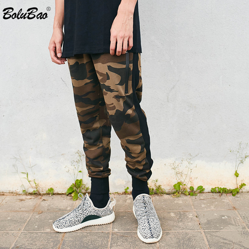 BOLUBAO 2018 Pants Camouflage Casual Skinny Zipper Botton Sweatpants Solid Hip Hop high street Trousers Pants Men Joggers Pants
