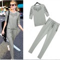 2016 Fashion Summer Women Sets Hollow Out Leisure Loose T-shirt + Long Pant 2 Piece Suits JA4028