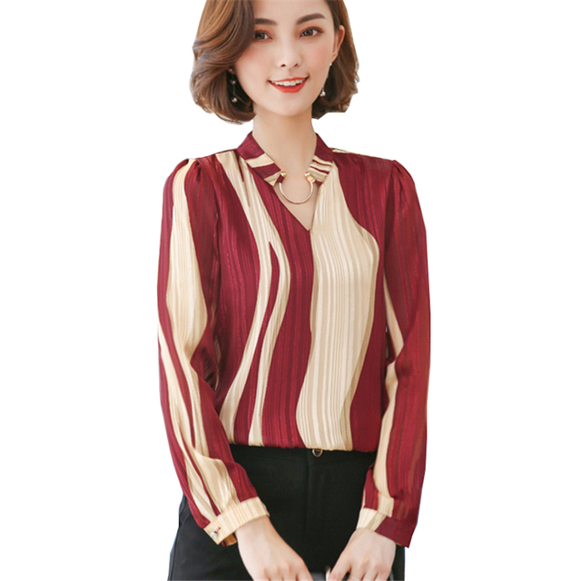 87b2822620e US $18.17 |Office Work Wear Women Shirt Blouses Black Red Elegant V Neck  Ladies Chiffon Blouse Casual Long Sleeve Striped Womens Femme Tops-in  Blouses ...
