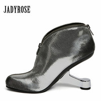 Jady Rose Strange Heel Women Ankle Boots Genuine Leather Botas Front Zipper Wedge Shoes Woman High Heels Women Pumps Wedges