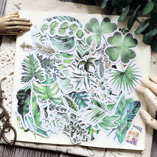 55pcs Tropical rain forest plants fresh monstera ceriman fern Decorative Sticker DIY Scrapbooking Diary Album Sticker Escolar