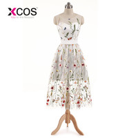 XCOS New Arrival Cocktail Dresses Lace White Short Dresses Appliques Elegant Party Dress Vestido De Noiva 2018