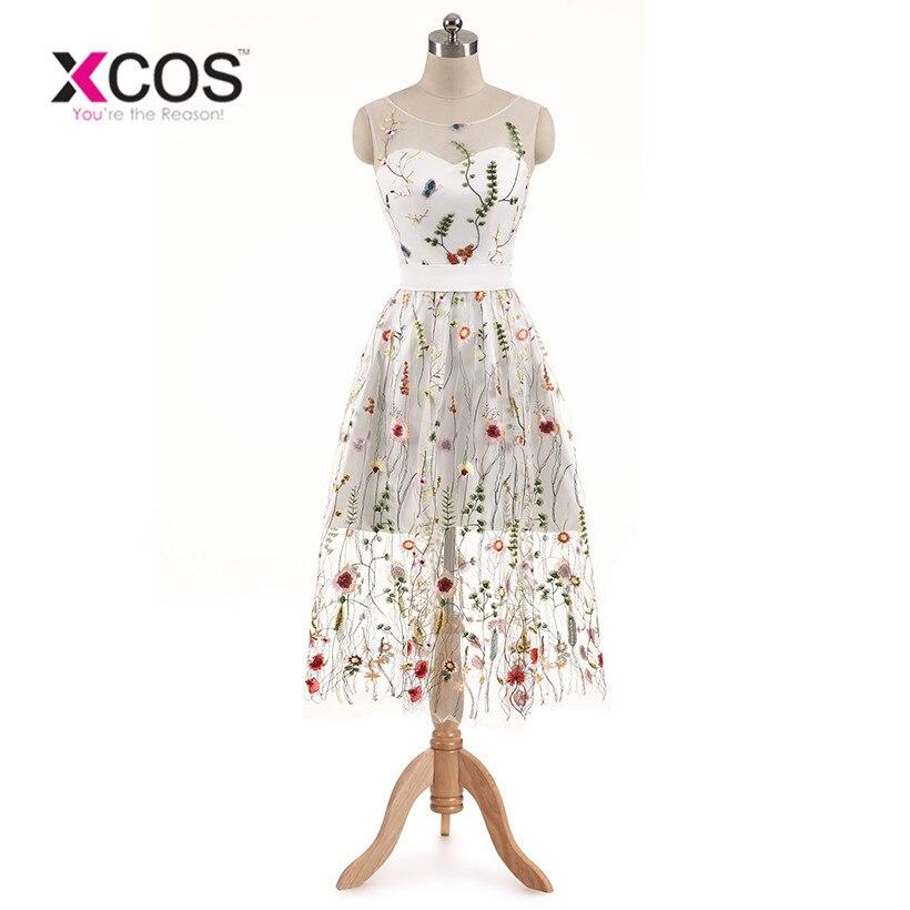 XCOS nouveauté robes De Cocktail dentelle blanc robes courtes Appliques robe De soirée élégante Vestido De Noiva 2018