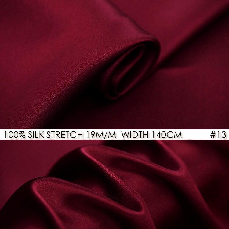 0dce046682d6a الحرير تمتد صقيل 140 سنتيمتر العرض 19 momme الحرير الخالص نسيج أقمشة  الساتان + تمتد أقمشة الحرير الصينية اللباس النبيذ الأحمر no 13