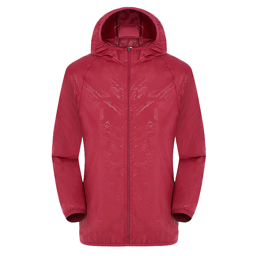 Men's Women Casual Jackets Plus Size Candy Color Windproof Ultra-Light Rainproof Windbreaker Hooded Coat Jackets 12