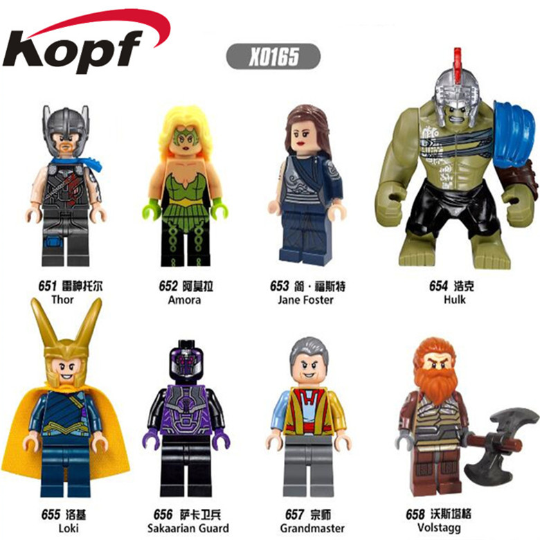 X0165 Super Heroes Building Blocks Single Sale Thor Amora Loki Jane Foster Sakaarian Guard Grandmaster Bricks Kids DIY Gift Toys single sale super heroes red skull mandarin thor grandmaster valkyrja bricks action building blocks children gift toys xh 709