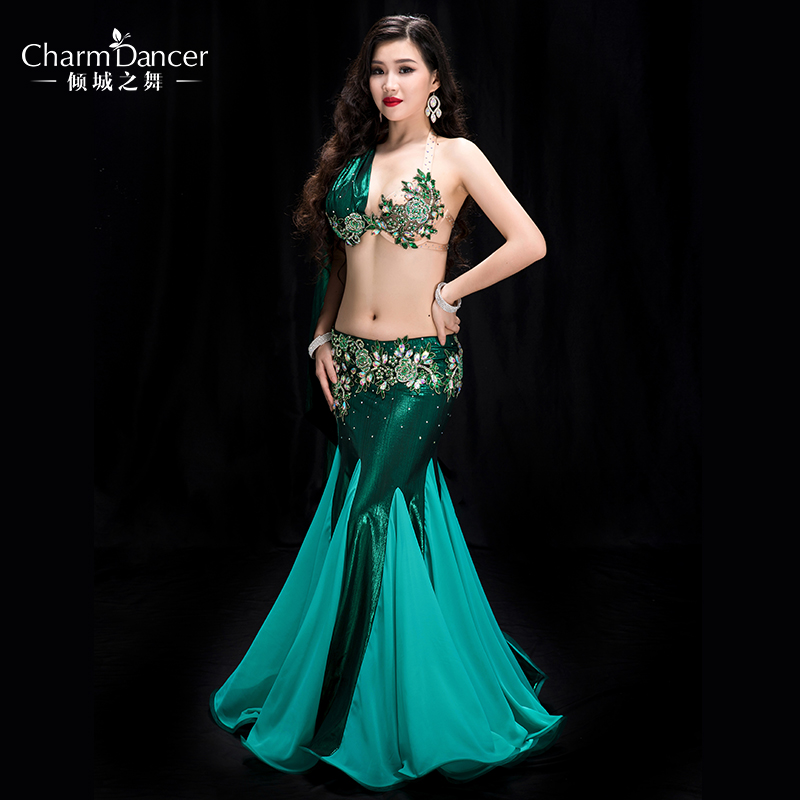 YC039 Belly Dancing Women Spandex And Pearl Chiffon Belly Dance Costume Set Girls  Belly Dance
