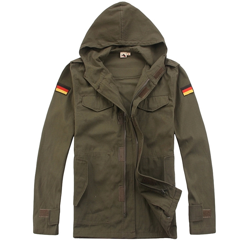 ФОТО military tactical jacket for men male hooded jacket coat German Army fans single coat winter jacket