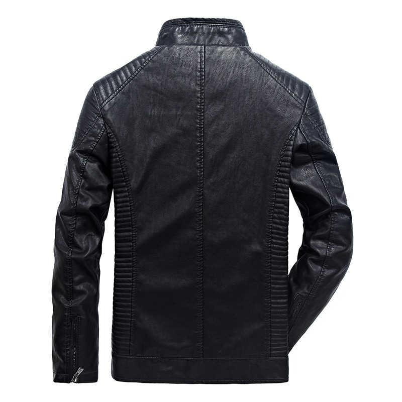 FGKKS ブランド男性レザージャケット 2019 冬のジャケットの男性古典的なオートバイスタイル男性インサイド厚いコート男性の革のジャケット