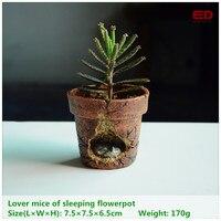 ED Original Quality Design Garden Ornament Lover Mice Of Sleeping Flowerpot Bonsai Outdoor Decoration