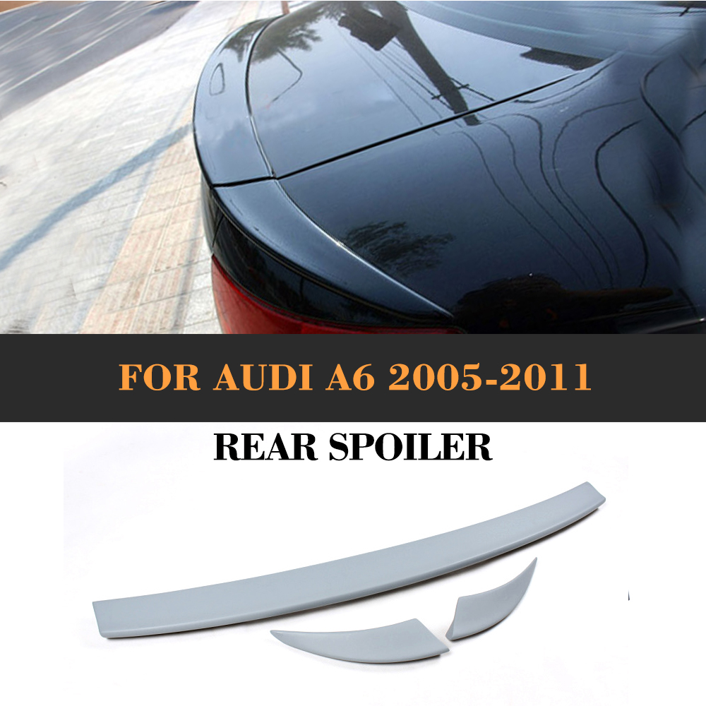 PU Unpainted Grey Primer Style Trunk Boot Wing Lip Spoiler For Audi A6 C6 2005 - 2011