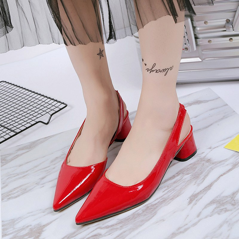 BeautyFeet 2017 New Summer Leather Sandals Women Shoes Woman Pointed  Shallow Ladies Shoes Med Heels Sandals Chaussure Femme-in Middle Heels from  Shoes on ... 46474a93c505