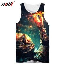 все цены на UJWI 2018 Summer Tops Men Singlet Creative Design 3d Print Astronaut Pick Star Tank Top Galaxy Space Vest Sleeveless Shirts онлайн
