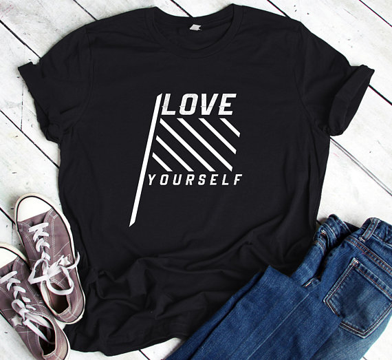 e67c5714a259 kpop BTS shirt love yourself letter print funny shirts tumblr tee aesthetic t  shirts graphic hipster cotton clothes short sleeve