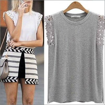 Encajes de Ganchillo camiseta Básica Verano Mujer Solid Loose Tops Plus talla L-