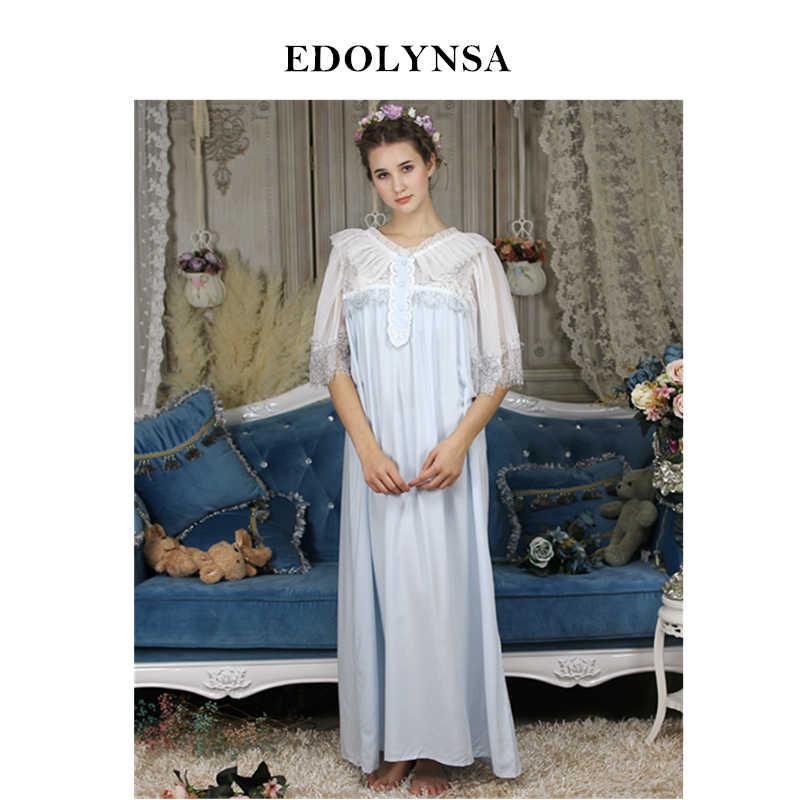 b9505bdb4a Victoriano camisón Vintage pijama mujeres Set otoño algodón Sleepshirts  romántico largo Patchwork noche sueño vestido H686
