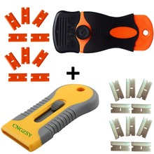 Safety Scraper Retractable Thumbscrew Knife Plastic Steel Razor Blades Double Edged Glue Removing Squeegee Wrap Clean