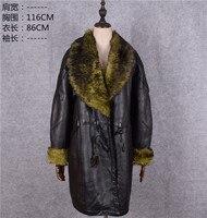Распродажа мать из натуральной овечьей кожи shearling длинное пальто женские зимние куртки шерстяная подкладка норки меховой воротник черный