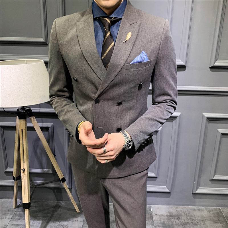 3 Piece Suits Men 2019 Double Breasted Formal Wedding Suits For Men Costume Homme  (Jacket+Pants+Vest) Slim Fit Tuxedo Suit