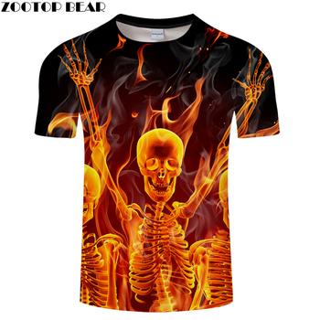 Fire&Skull 3D t shirt Men tshirt Fire Summer T-Shirt Casual Tees Short Sleeve Tops Groot Camiseta Hip Hop Asian size s-6xl