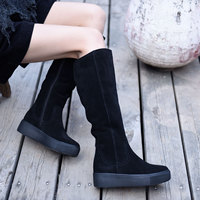 Artmu Fashion Women Boots Handmade Leather Boots Zippers Snow Boots Black Street Style Flat Platform Heel Lady Knee High Boots