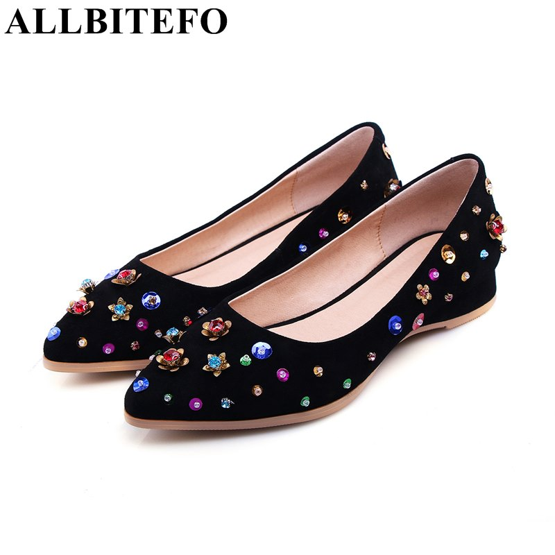 ALLBITEFO large size:33-43 sheepskin pointed toe colors rivets women flats fashion brand high quality flat shoes woman new 2017 spring summer women shoes pointed toe high quality brand fashion womens flats ladies plus size 41 sweet flock t179