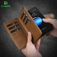 FLOVEME Retro Wallet Case For IPhone 6 6S 7 Plus 6 7 6S Cases PU Leather